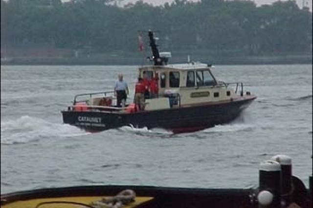 Boat crews from the U.S. Army Corps of Engineers' New York and Philadelphia districts were stationed along the Hudson River Sept. 11, 2001, for a Coast Guard boat-safety class. The crews helped take citizens fleeing the city to safety.