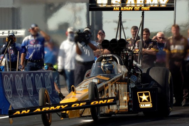 """U.S. Army Top Fuel pilot, Tony """"The Sarge"""" Schumacher, moved closer to the Top Fuel world championship title in the semifinals of the O'Reilly Fall Nationals at the Texas Motorplex in Ennis, Texas, Sept. 24."""""""