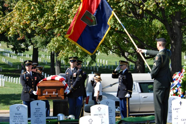 """Soldiers of the 3rd U.S. Infantry carry the casket of formerly-missing U.S. Army Pvt. Francis Lupo in Arlington National Cemetery Sept. 26. Lupo was killed in World War I in 1918 in France."""""""