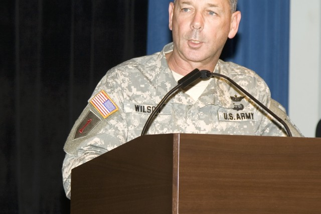 """Lt. Gen. Robert Wilson talks about how the Installation Management Command is the next step in the evolution of installation management during the command's activation ceremony Oct. 24 at the Pentagon. Wilson, commander of the Installation Management Command, said IMCOM will ensure effective, efficient and agile support to installations. IMCOM's job is to ensure flagships of readiness remain """"Army Strong,"""" he said."""