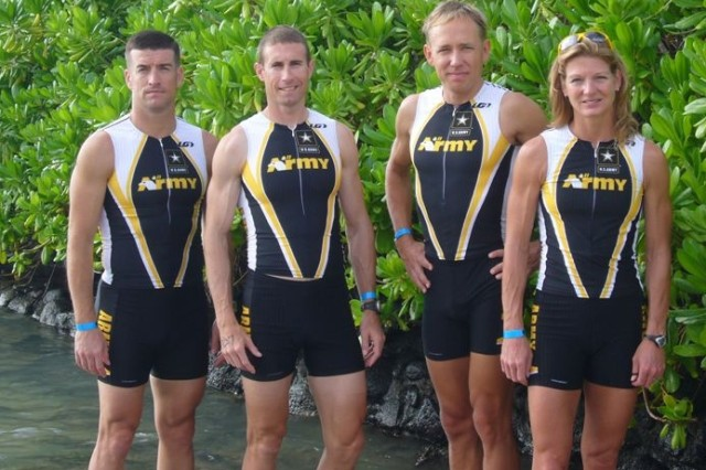 The Army team took top honors in the Military Division of the Ironman World Championship in Kona, Hawaii, Oct. 21. The competitors were: Capt. Art Mathisen, Maj. Matt Lorenz, Maj. Mike Hagen and Lt. Col. Heidi Grimm