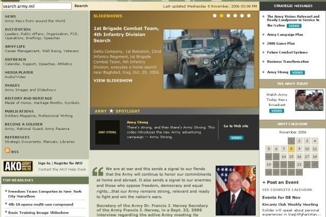 The Army Homepage received an update today with several new features and a new design.