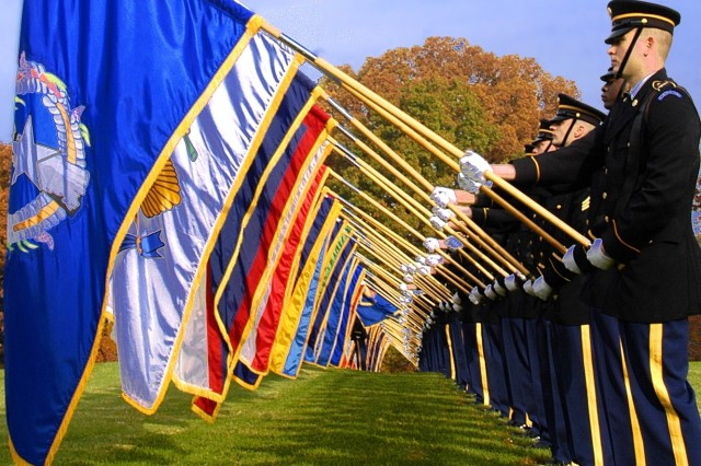 The 3rd U.S. Infantry (The Old Guard) performs at a Veterans Day ceremony at Fort Myer's Whipple Field.