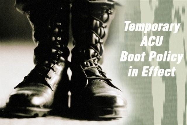 The Army announced yesterday that in certain geographic areas for the next six months the black Intermediate Cold Wet Boot will be authorized for wear with the Army Combat Uniform in lieu of the tan ICWB, which is currently in short supply.