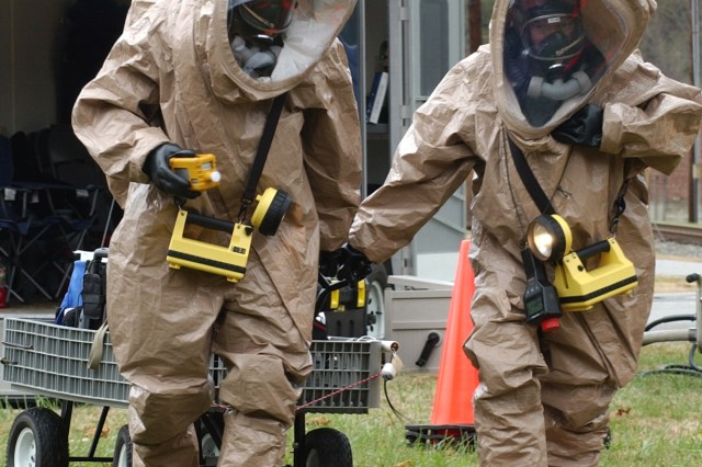 Soldiers from the 42nd Civil Support Team participate in a weapons of mass destruction exercise in Enka, N.C.