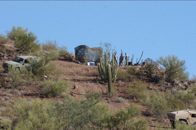 Indiana National Guardsmen help Tucson Sector Border Patrol agents at an observation post in southern Arizona.
