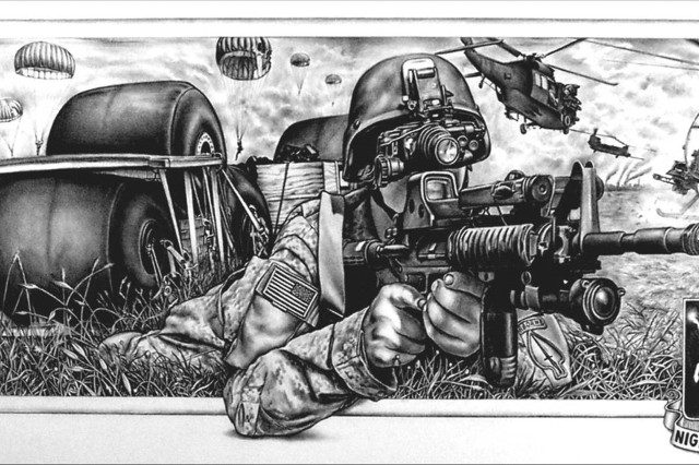 "Staff Sgt. John Pilieri of Fort Campbell, Ky., takes second place in the accomplished artists drawing category of the 2006 Army Arts & Crafts Contest with ""106th SOAR FARO Team Print."""