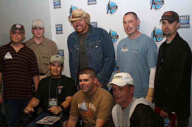 "Toby Keith met with a group of wounded warriors recovering at Brooke Army Medical Center before he rocked the house with his ""Toby Keith's Hookin' Up and Hangin' Out Tour,"" sponsored by Ford Motor Company and Texas Ford Dealers"