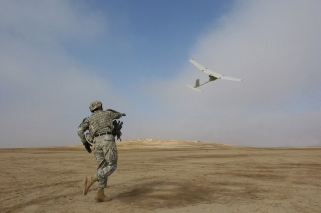 ...and away it goes, on an aerial reconnaissance mission for Iraqi and U.S. Soldiers on the ground.
