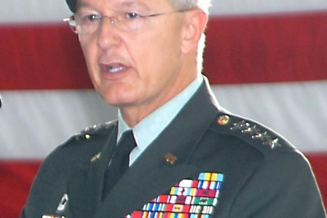 Gen. John Craddock, upon taking the reins of U.S. European Command Dec. 4, 2006, in a ceremony in Stuttgart, Germany. Craddock also will assume responsibilities as supreme allied commander in Europe Dec. 7.