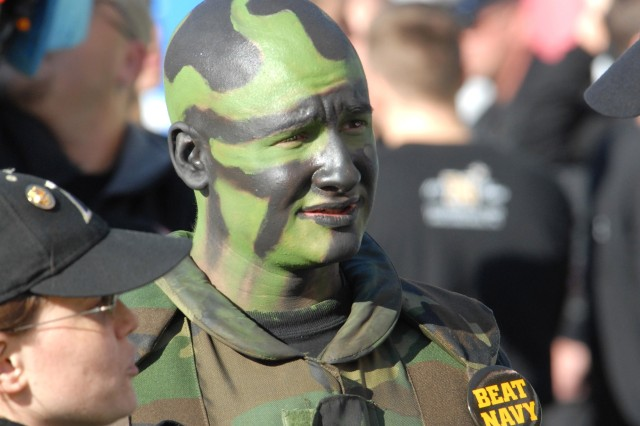 Army cadet Bill Lessner shows support for the Black Knights during the Army-Navy football game at Lincoln Financial Field in Philadelphia Dec. 2.