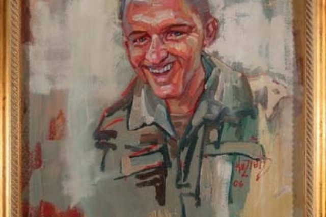 Kaziah Hancock of Project Compassion painted this portrait of Pfc. Nathaniel Detimple, an infantryman with the 28th Infantry Division who was killed in Iraq on Aug. 9, 2005.