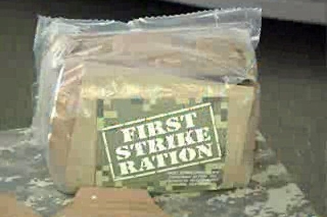 Meals Ready to Eat have been around for 20 years, but the Combat Feeding Directorate is always looking for ways to improve on a good thing. Making MREs lighter in weight and less bulky to carry is a top priority. It is especially important for those warriors who are constantly on the move. To meet that challenge officials plan to introduce a new First Strike Ration in 2007.