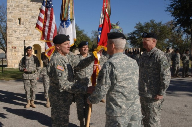 General Dan K. McNeill,  Commander of United States Army Forces Command, passes the colors to Lt. Gen. Thomas R. Turner, incoming Commander of United States Army North, during a change of command ceremony at Ft Sam Houston, Texas.""