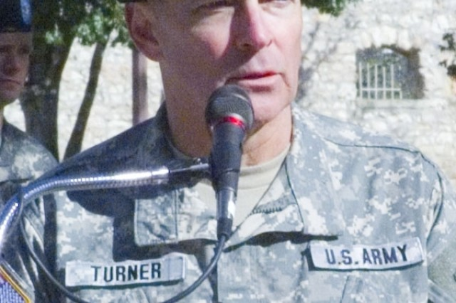 Lt. Gen. Thomas Turner, commander, U.S. Army North speaks at the change of command.