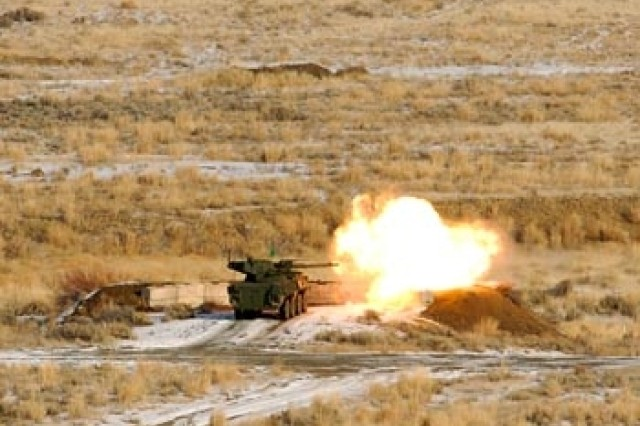 A Stryker MGS from 1-38 Inf. engages a target during gunnery at the Yakima Training Center.