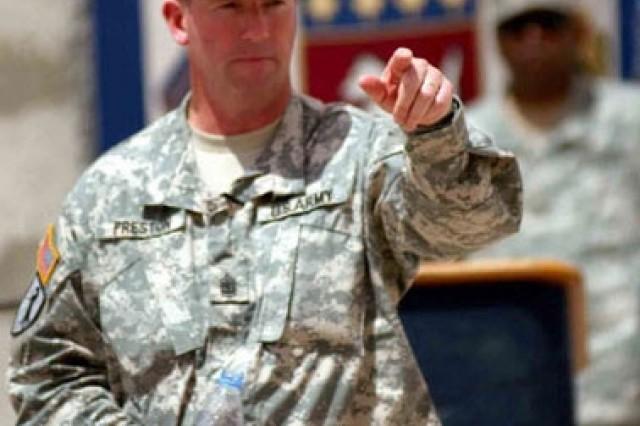 Sgt. Maj. of the Army Kenneth O. Preston speaking in Iraq