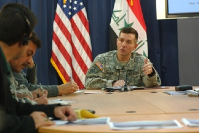 Maj. Gen. William B. Caldwell IV, Multi-National Force-Iraq spokesman addresses questions from journalists during a media roundtable at the Combined Press Information Center in Baghdad.