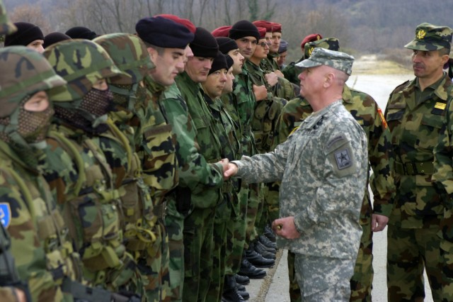 Lt. Gen. H Steven Blum greets members of the Montenegrin Special Forces after their tactical capabilities demonstration at the Danilovgrad Training Center in Montenegro Dec. 7, 2006.