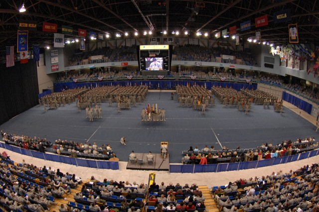The audience packs the stadium during the ceremony.