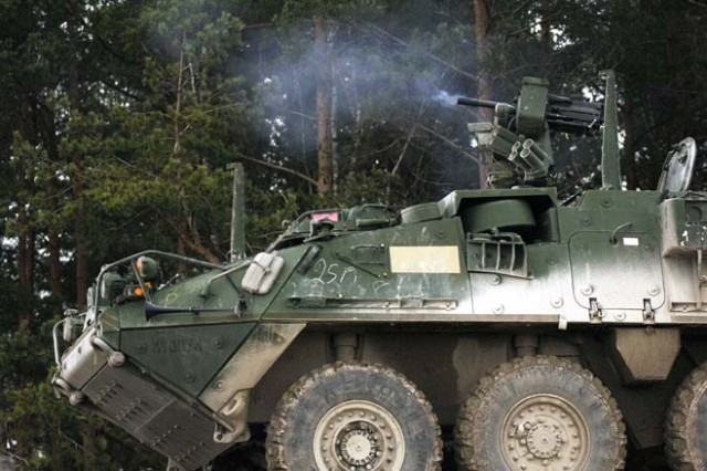 The Remote Weapons System on the Stryker allows suppressive fire - as from this Mark 19 grenade launcher - to be employed without exposing the gunner to incoming fire.