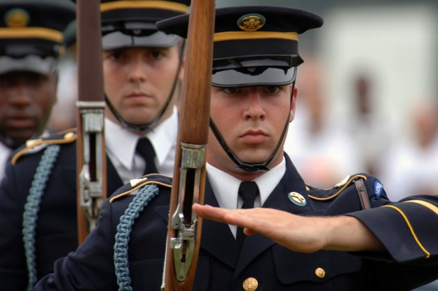 Soldiers from the 3rd United States Infantry Regiment (Old Guard) are participating in the funeral activities.