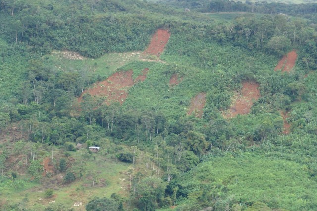 An aerial view of some of the mudslides.