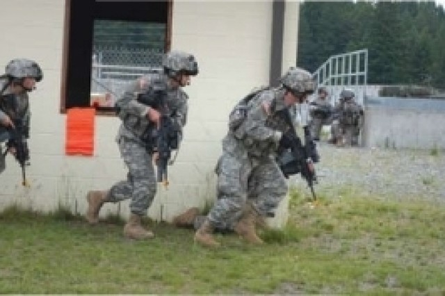 Soldiers in the urban terrain portion of Land Warrior training.