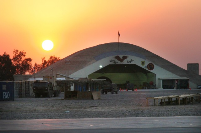 The sun sets over the 36th CAB's hardened aircraft shelter at LSA Anaconda.