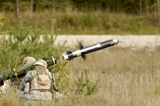Soldiers fire an FGM-148 Javelin anti-tank guided missile.