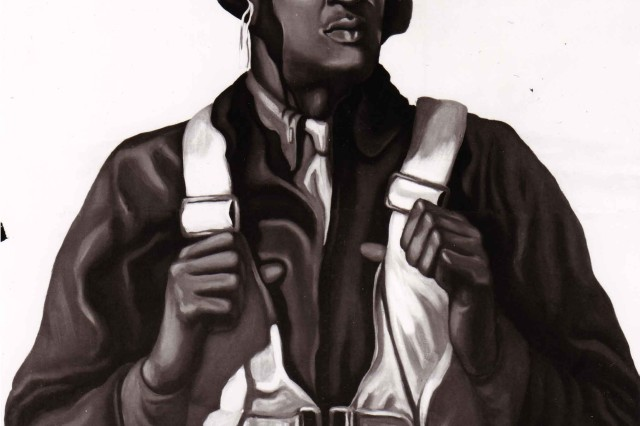 A poster from WWII encouraging the support of the Tuskegee Airmen.