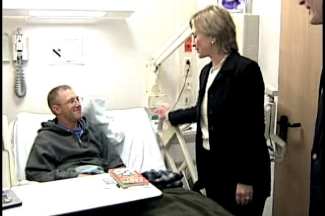 """New York Senator Hillary Rodham Clinton and Indiana Senator Evan Bayh visited wounded troops at Landstuhl Regional Medical Center in Germany. TSgt Jeramie Brown has the story."""""""