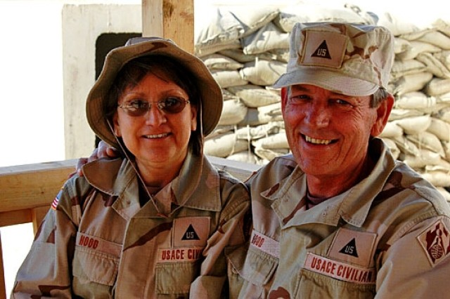 Married couple Bill and Cathy Hood serve with the Army Corps of Engineers.