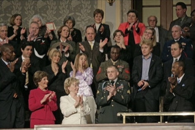 """Sgt. Tommy Rieman, who was awarded the Silver Star for his valiant actions in Iraq, was honored by President Bush at the annual State of the Union Address Jan. 23. """""""