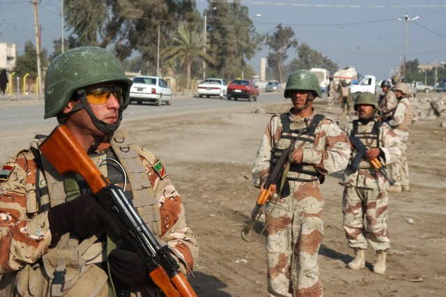 The Iraqi soldiers are from 1st Battalion, 4th Brigade, 6th Iraqi Army Division.