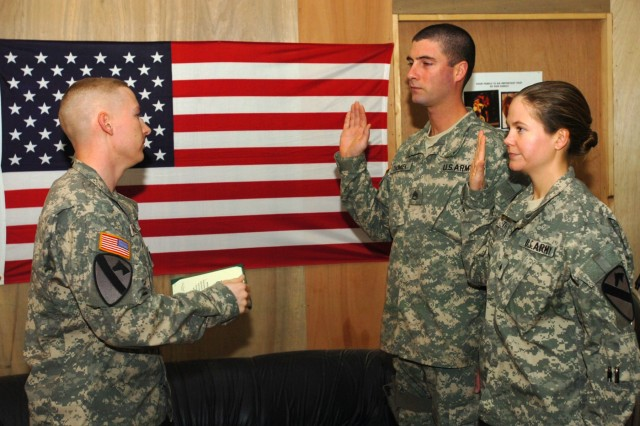Married Couple Shares Reenlistment 'Vows' at Taji