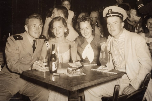 Unidentified Navy cadet and date with Bruce and Arlene in New Orleans, LA 1956.