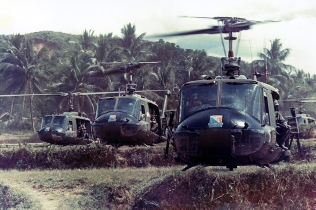 Bruce leading a formation of UH-1 helicopters from Alpha Company 229th Aviation Regiment just prior to takeoff in Vietnam, circa 1966.