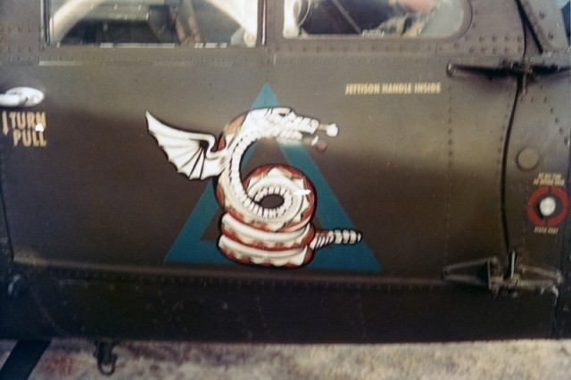 This serpent is painted on the door of Bruce's UH-1 helicopter.  Such images enabled fellow pilots and ground commanders to identify pilots by their distinctive call signs and door markings.  Bruce was called Ancient Serpent Six.