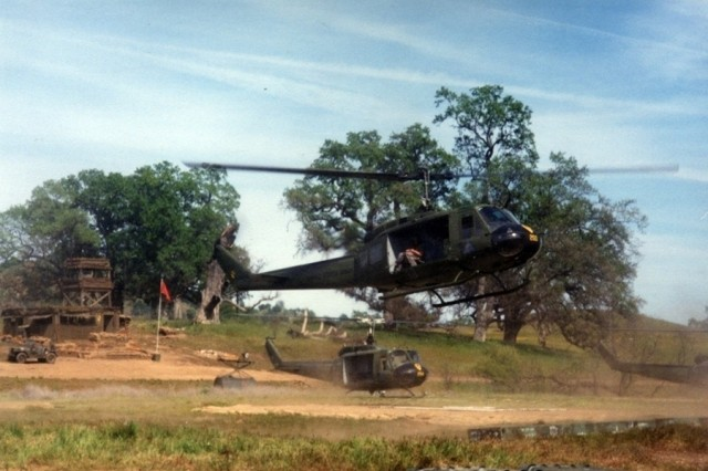 "UH-1 Hueys on the set of ""We Were Soldiers."""