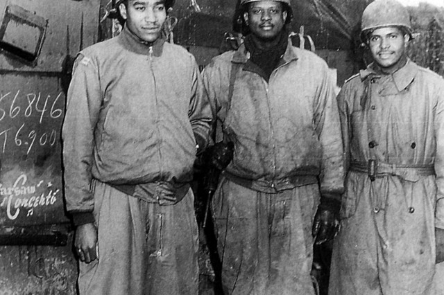 761st Field Officers (from left to right) Capt. Ivan Harrison, Headquarters Company commanding officer; Capt. Irvin McHenry, Charlie Company commanding officer; and 2nd Lt. James Lightfoot, the 81mm mortar platoon leader.  ""