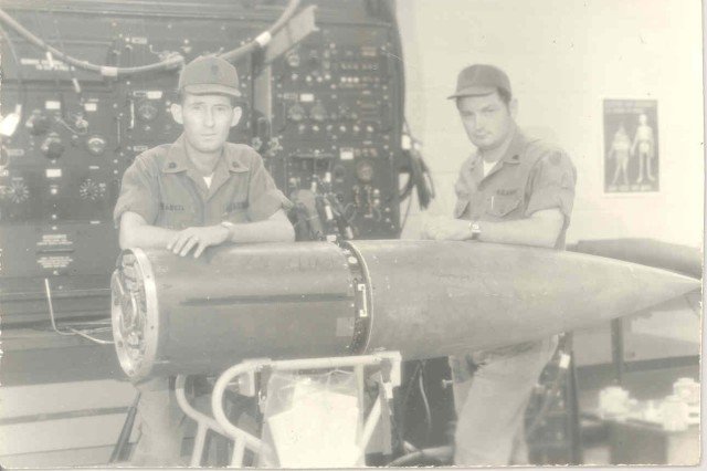 A 1972 photo of Spcs. Robert Rangel and Joe McClarty while they were stationed in Korea. Rangel and McClarty entered the Army together.