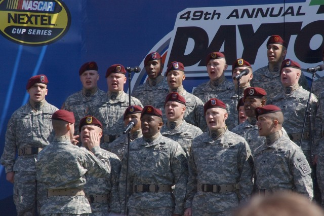 Many Soldiers and their families attended the race, including these 82nd Airborne Division Soldiers, who provided some pre-race entertainment.