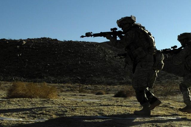 Soldiers practice close-quarter battle tactics.