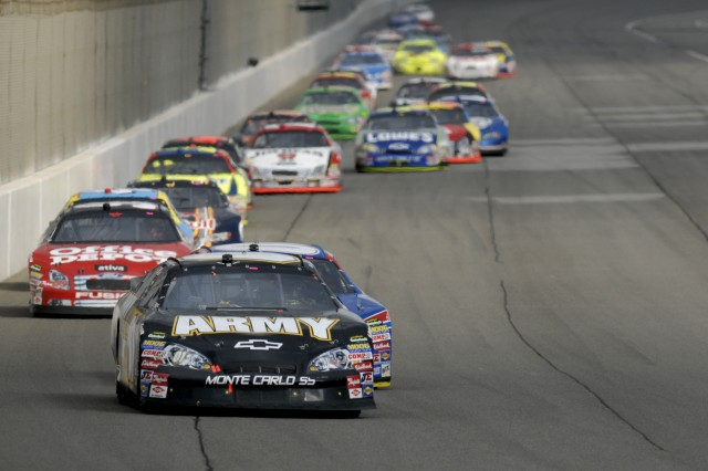 U.S. Army driver Mark Martin left California Speedway leading the Nextel Cup driver point standings after posting a fifth-place finish in Sunday's Auto Club 500.