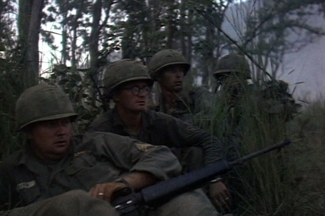 Soldiers of the 1st Battalion, 7th Cavalry, during the fight for LZ X-Ray in the Ia Drang Valley of Vietnam.  Photo extracted from US Army motion picture footage. (Nov 1965)""