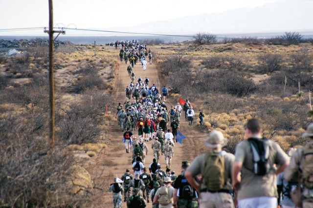 """More than 3,800 people, both military and civilian aEUR"""" representing all 50 states, the United Kingdom, Germany, Canada and Korea aEUR"""" participated in the 2006 Bataan Memorial Death March at White Sands Missile Range, N.M."""