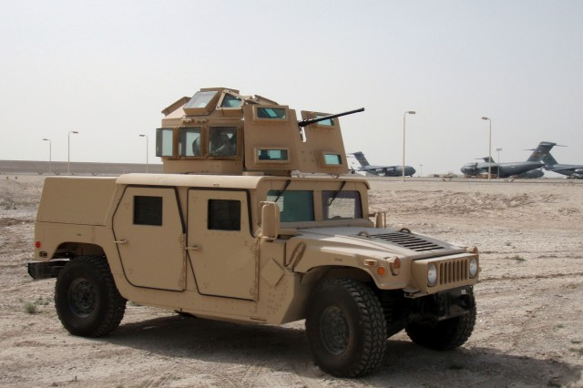 In less than 80 days, the improved protective turret prototype on this Humvee was taken from sketched concept to hard-core assembly. The igloo-shaped structure is designed to wrap around and over the turret gunner, thereby minimizing the sniper threat. The protective prototype's development and testing stemmed from the death of Airman 1st Class Leebernard Chavis, who was killed by sniper fire in October 2006.