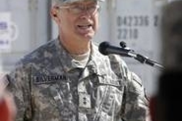 Maj. Gen. Ronald Silverman, commander of the 3rd Task Force Medical Command, March 19, at the opening of a new level III trauma hospital, the first such facility in Anbar Province, Iraq, where 40 percent of U.S. casualties occur.