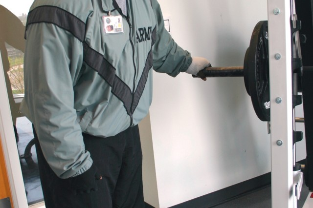 Sgt. Antonio Autry checks out the weight-lifting equipment at the Center for the Intrepid.